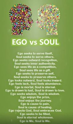 Many of us exist only in our ego. Our ego's control our lives in totality. It takes so much effort and true transformation to operate from a soul perspective. ~It's Your Choice
