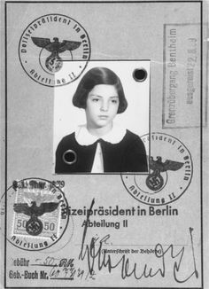 A passport issued to eleven-year-old Gertrud Levy (the donor), a German-Jewish refugee child, before her departure from Germany on a Kindertransport to England.