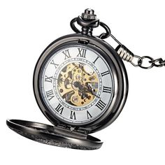 Nice Mudder® Classic Steampunk Roman Dial Mechanical Skeleton Steel Mens Black Windup Pocket Watch