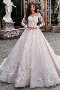 Fabulous Tulle Sheer Bateau Neckline See-through Bodice A-line Wedding Dress With Lace Appliques & Beadings & Belt