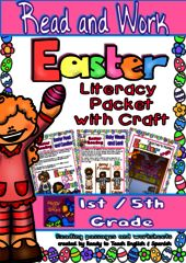 EASTER Giveaway!!! - Be one of the 5 winners!!!.  A GIVEAWAY promotion for Easter Read and Work - Literacy Packet with Craftivity from Ready to Teach English and Spanish on TeachersNotebook.com (ends on 3-26-2016)
