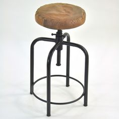 Round Metal/Leather Stool now featured on Fab.