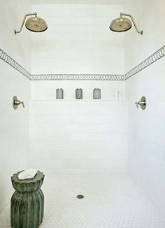 Paige Sumblin Schnell - Gorgeous shower with brushed nickel rain shower heads, hex tiles floor, green mosaic tiles trim and green garden stool. Decoration Inspiration, Bathroom Inspiration, Writing Inspiration, Small Bathroom, Master Bathroom, Master Shower, White Bathroom, Bathroom Interior, Vanity Bathroom