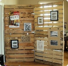 pallets as a room divider.  I could paint white and distress -would work in the basement/beach theme
