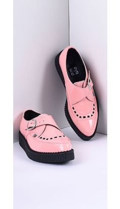 TUK Peachy Pink Patent Pointed Toe Vegan Monk Buckle Creepers