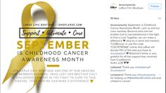 """September is Childhood Cancer Awareness Month • join us and our crew member, Breanna (who lost her brother Colt to neuroblastoma) in the fight to find a cure! Together, we can make a difference 💛 stop by in store and mention """"ColtStrong"""" or use the code """"COLTSTRONG"""" online and LaRue will donate 10% of the total purchase to @curesearch 💚 Breanna's family is very grateful for all the support they received from CureSearch!  XoXo, LCB 💚💜"""