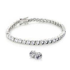 Bling Jewelry 925 Sterling Silver CZ Wave Tennis Bracelet and Earrings Set, Women's, Clear