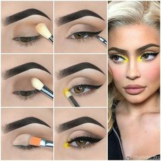 Here is Kylie Jenner Style Eye Makeup Tutorial! Here is Kylie Jenner Style Eye Makeup Tutorial! Eye Makeup Steps, Simple Eye Makeup, Natural Eye Makeup, Makeup Eye Looks, Yellow Eye Makeup, Yellow Eyeshadow, Dark Eyeshadow, Simple Makeup Looks, Makeup Trends
