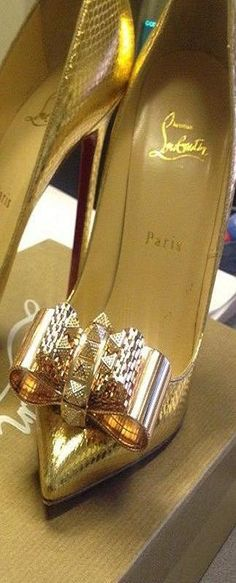 Christian Louboutin ~ Gold Metallic Stilettos w Embellished Bow Detail
