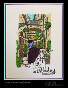 Birthday card, using Stampin' Up Mediterranean Moments and Beautiful You.