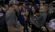 2015 NBA Champ Stephen Curry celebrating with wife Ashley and daughter Riley