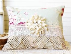 "Vintage Pillow w/Tattered Muslin Rose, 23 x 11"", 43.00 + Ship - http://www.katiesrosecottagedesigns.com"