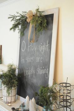 burlap christmas, love the chalk board Christmas Chalkboard, Burlap Christmas, Merry Little Christmas, Country Christmas, Simple Christmas, Winter Christmas, All Things Christmas, Christmas Crafts, Vintage Christmas