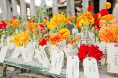"""""""escort cards"""" ... Photography by christinefarah.com, Floral Design by moderndaydesign.com"""