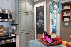 like door frames and use chalkboard somewhere in kitchen. My Houzz: Vintage Farmhouse Style farmhouse kitchen<br> Base Cabinets, Kitchen Cabinets, Kitchen Appliances, Vintage Farmhouse, Farmhouse Style, Kitchen Paint, Kitchen Design, Door Frames