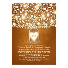 Orange mason jar flowers wedding invites