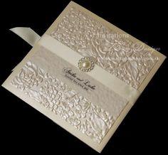 Elegant wedding invitation with embossed champagne paper #pocketfoldinvitation #invitationcard #invitationcards