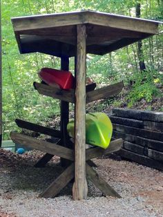 Kayak Rack My Kayak Shack - storage for kayaks and canoes- metal roof. Posts supports are buried and concreted below ground. Canoe Storage, Outdoor Storage, Storage Racks, Storage Sheds, Kayak Camping, Canoe And Kayak, Canoe Trip, Kayaks, Kayak Stand