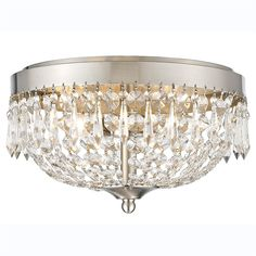 Z-Lite 431F4-BN Danza 4 Light Flush Mount with Clear Crystal Shade