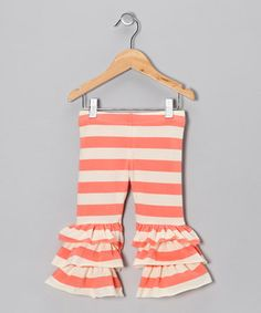 Loving this Taylor Joelle Designs Coral & White Ruffle Leggings - Toddler & Girls on #zulily! #zulilyfinds