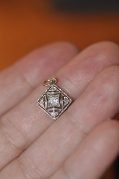 Art Deco 14 Karat White and Yellow Gold Old Mine Cut Diamond Pendant. $345.00, via Etsy.
