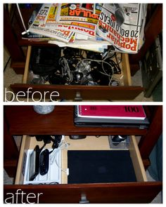 once a drawer now a charging station closet organizationorganization ideasstorage ideasorganizingbedside tablesnightstandcharging