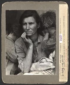 """""""When Dorothea Lange made this portrait of Florence Thompson (""""Migrant Mother"""") in 1936, neither one of them could have known that it would become one of the most recognized and reproduced photos in history."""" Thompson was also a Native American, born on a Cherokee reservation in Oklahoma."""