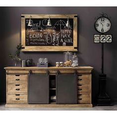 Solid mango wood sideboard L 190 cm Germain Rustic Furniture, Vintage Furniture, Diy Furniture, Furniture Design, Wood Barn Door, Barn Doors, Coffee Bar Home, Muebles Living, Vintage Industrial Decor