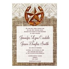 See MoreRustic Horseshoe Star Burlap Wedding InvitationsThis site is will advise you where to buy