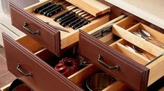base drawers with top drawer split for utensils and knives