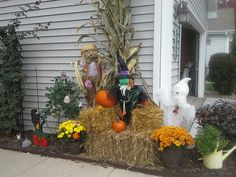 Hey barrels fall flowers halloween decorations