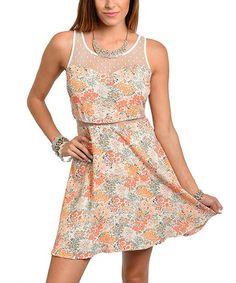 Ivory & Peach Sheer Panel Sweetheart Dress - Women