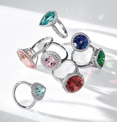 Dazzling rings featuring Tiffany's legacy gemstones including morganite, tsavorite and kunzite.