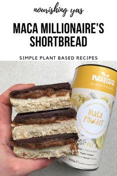Vegan, Gluten Free & Nut Free Maca Millionaire's Shortbread - Nourishing Yas #dessert #nobake #nutfree #glutenfree #maca #chocolate #vegan #healthyrecipe #veganrecipes #recipe