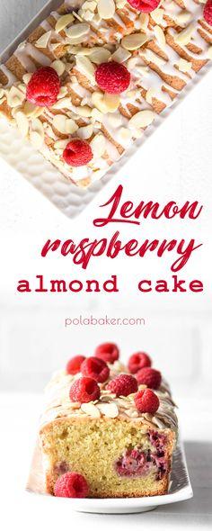 Lemon raspberry almond cake - polabaker.com  #recipe #almondflour #almond #loaf #bread #cake #polabaker #raspberry #lemon #citrus #dessert