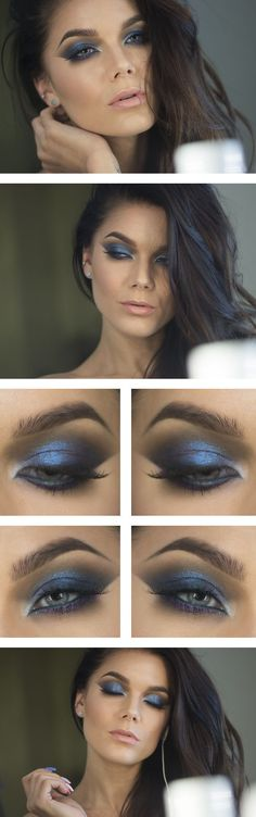 BLUE -- Arabic inspired blue eyeshadow. The lightest part is the center of the eye.