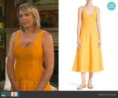 Nicole's orange midi dress on Days of our Lives. Outfit Details: https://wornontv.net/78339/ #DaysofourLives
