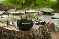 """CampMaid 12in. Cast Iron Dutch Oven 6pcs Set  CampMaid 12in. Seasoned Dutch Oven set come pre-seasoned, ready for camp. The 12"""" dutch oven allows you to fry, bake, boil, and slow cook in the great outdoors. If you have never tried cooking in a dutch oven, you will be surprised at how flavorful camp food can be. Whether you making corn bread, baked beans, breakfast muffins, or our favorite apple cobbler you will find it all tastes wonderful and is a perfect blend with the fresh air of your…"""