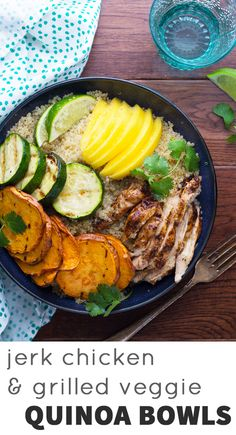 A healthy, tropical quinoa bowl with the flavors of Jamaica! Grilled sweet potato and zucchini are combined with fresh mango and Jamaican jerk chicken and tossed in a jerk vinaigrette. #ad