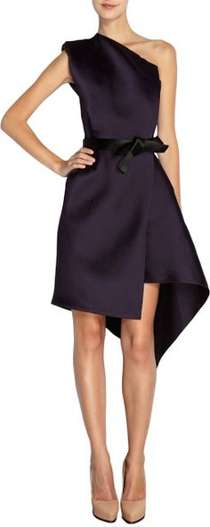 Designer fashion | Lanvin deep purple wrap one shoulder dress