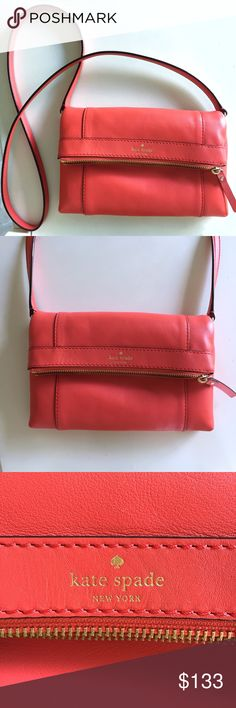 """NWOT Kate Spade Julian coral leather crossbody bag This is a gorgeous cross body bag in a fun coral color, but I haven't used it. It's just too small for me. I actually have the tags somewhere, will add a photo and include with purchase if I find them. There are a couple flaws in the leather that were there when I got it (I ordered it online). Measures 9.5"""" wide, 6.25"""" tall when flap is folded over, and strap drop is about 21"""". kate spade Bags Crossbody Bags"""