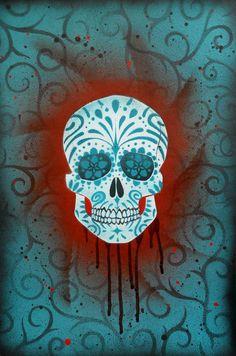 skull street art   Sugar Skull Stencil Print 6 by *darcydoll on deviantART