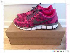 Nike Fushia Pink Leopard Print Running Shoes