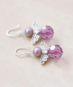 Angel Wings boucles d'oreilles, bijoux en perles violette, aile bijoux, violet boucles d'oreilles, boucles d'oreilles verre