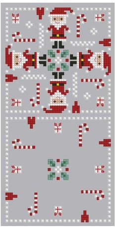 Cross-stitch Santa Biscornu... no color chart available, just use pattern chart as your color guide.. or choose your own colors...