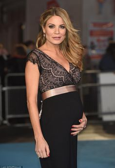 Bumping along nicely: Presenter Charlotte Jackson showed off her sizeable bump in a figure...