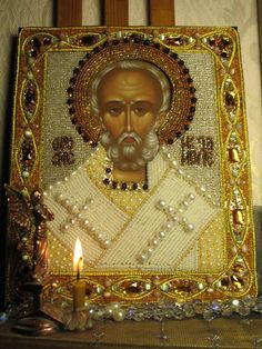 Ubrus.ru The icon of St. Nicholas Embroidery by Tatyana Semenova