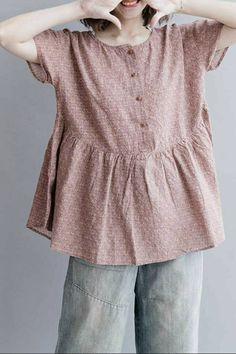 Women Summer Floral Cotton Linen Short T Shirt 2019 – Sommerkleider Trend 2019 Linen Blouse, Linen Shorts, Clothes Crafts, Sewing Clothes, Linen Dresses, Cute Dresses, Short T Shirt, Linen Dress Pattern, Magnolia Pearl