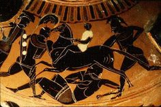 This Greek Vase shows a soldiers fighting during the Peloponnesian War, a fight between Athens and Sparta  during the Classical Period in Greece. This conflict started after the Persians Wars.