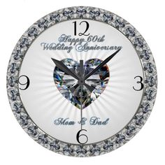 Shop Diamond Heart Wedding Anniversary Clock created by Digitalbcon. 60th Anniversary Gifts, Anniversary Ideas For Him, 15th Wedding Anniversary, Anniversary Clock, Parent Gifts, Wedding Dj, Diamond Heart, Engagement Rings, Prints